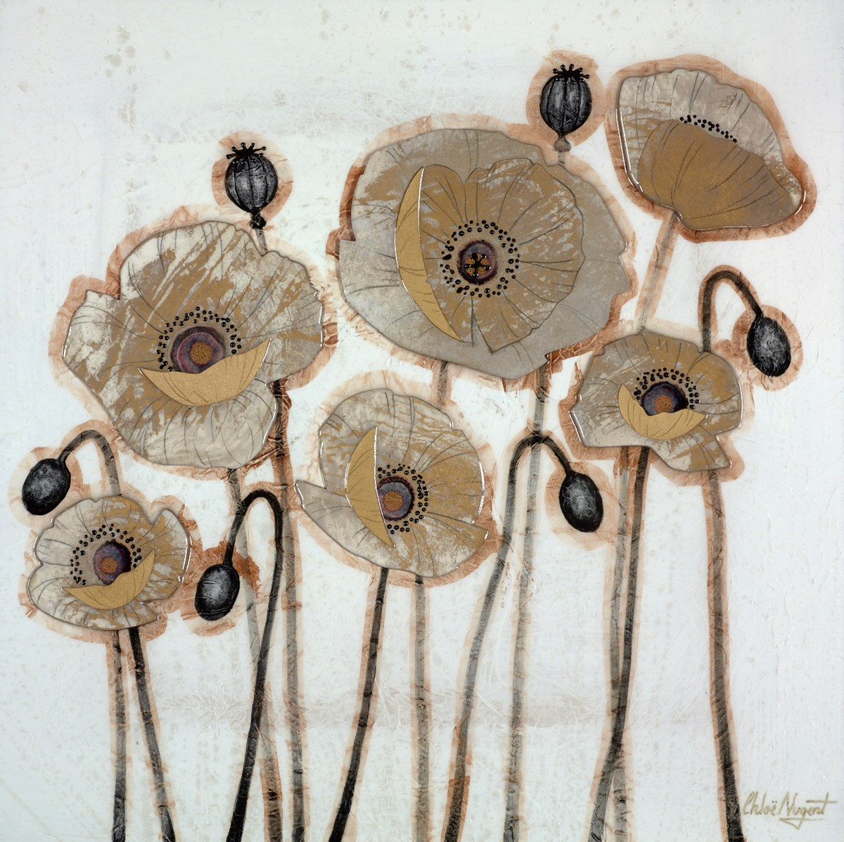 Burnished Poppies IV by chloe nugent -  sized 20x20 inches. Available from Whitewall Galleries
